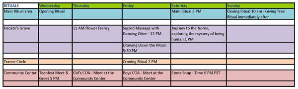 Dragonfest 2013 Ritual Schedule