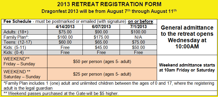 The 2013 Fee Schedule for Dragonfest Registration
